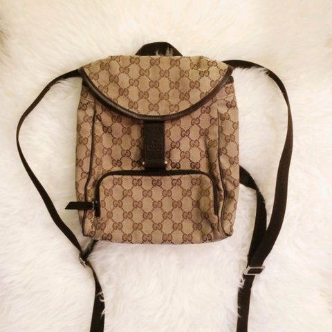 9e64517347d 100% authentic Gucci backpack in brown monogram canvas w  on - Depop