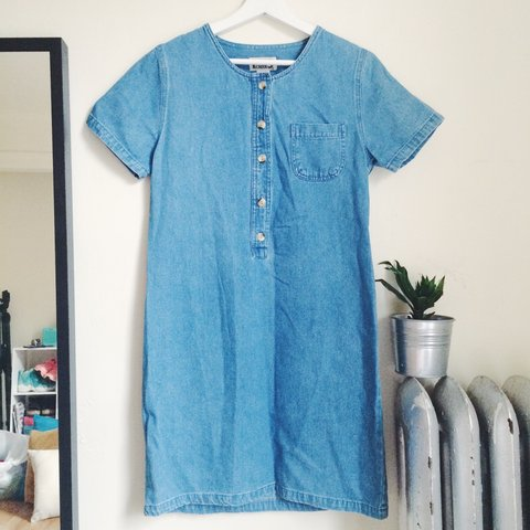 9ff8836e5f7 💙 denim shirt dress💙 boxy fit with buttons and pocket     - Depop