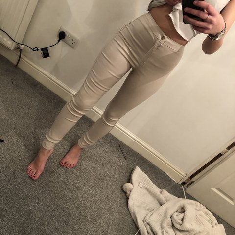 3c19f60e7c White / cream coated jeans high waisted leather look from - Depop
