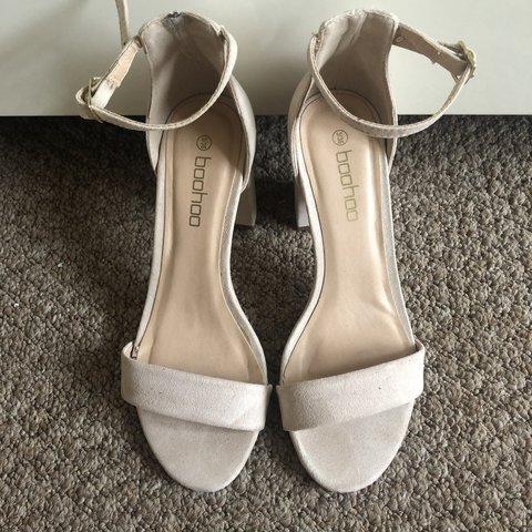 Nude heels from Boohoo with low block