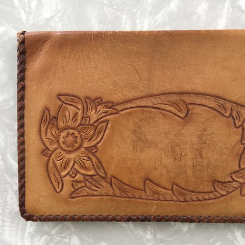 5606fdad5404 Vintage tooled leather wallet. One side has an acorn and The - Depop