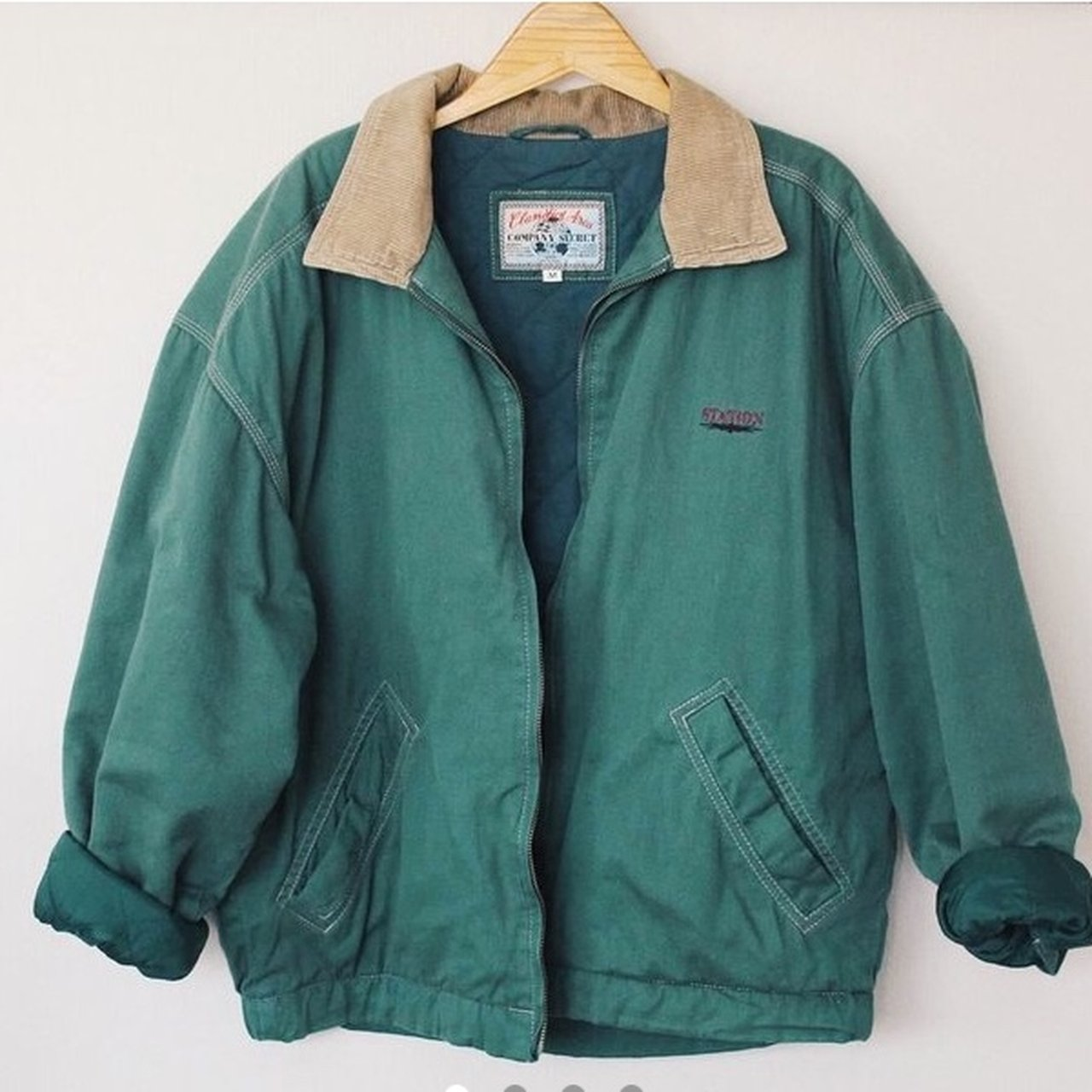 559e7d972c Vintage unisex bomber jacket   coat in green colour and a in - Depop