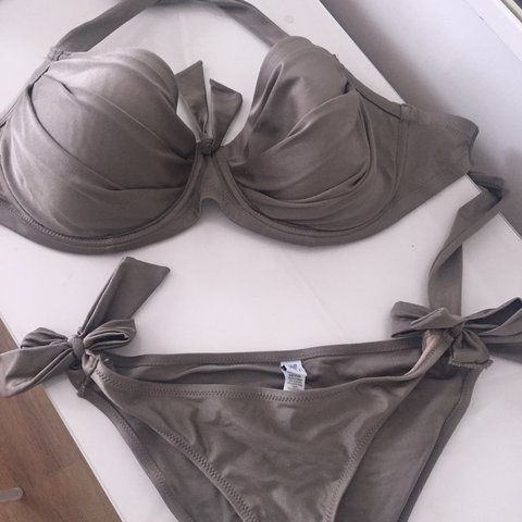 8d6259aedd94a Pour Moi Bikini. Never Worn Lovely Oyster Colour. Tie Side - Depop