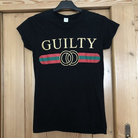 1d94e6d02340 Black Gucci style 'Guilty' t-shirt with glittery writing, a - Depop