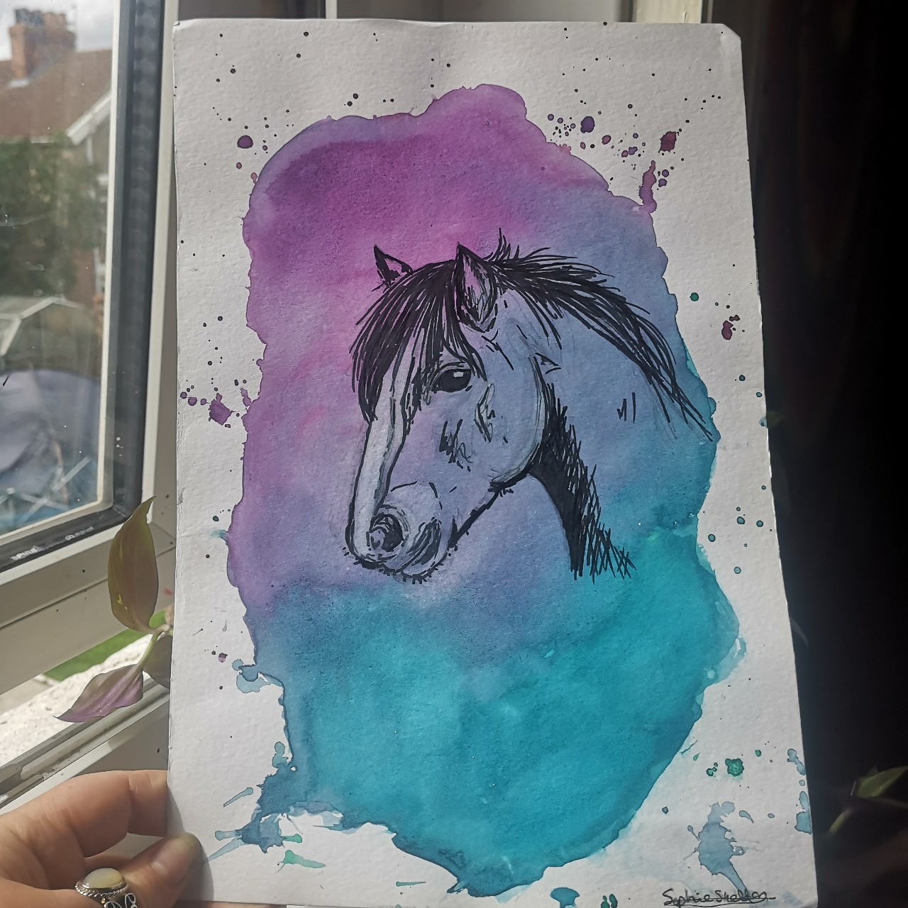A4 Watercolour Horse Painting Drawing By Me Signed Depop