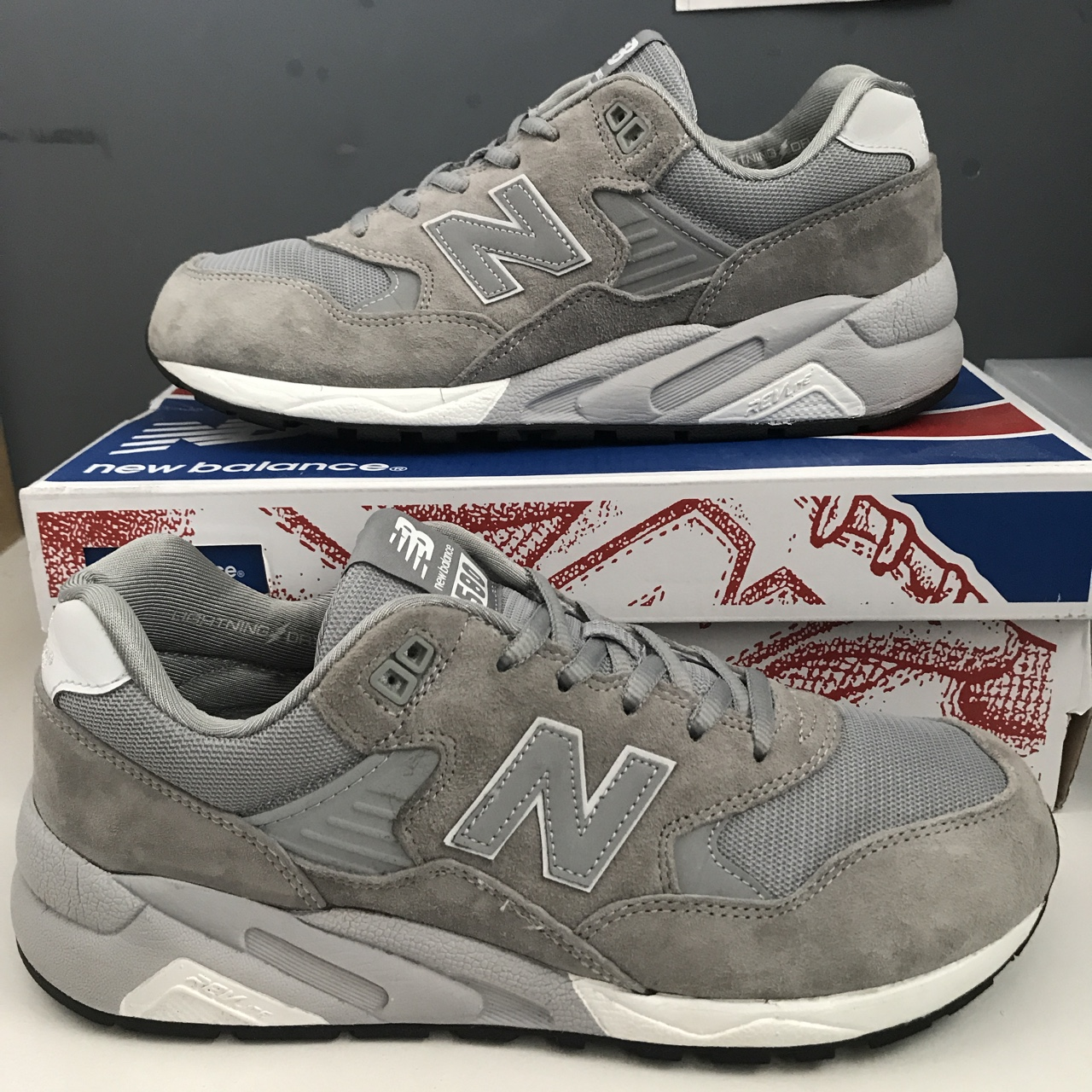 new arrival 6a3d9 63054 New Balance 580 REVlite Suede Grey Reflective UK... - Depop