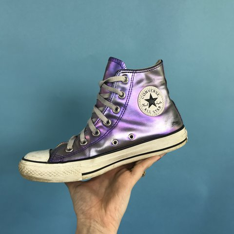 4ed7d44c98c952 Converse trainers. Hologram metallic purple hi top style. . - Depop