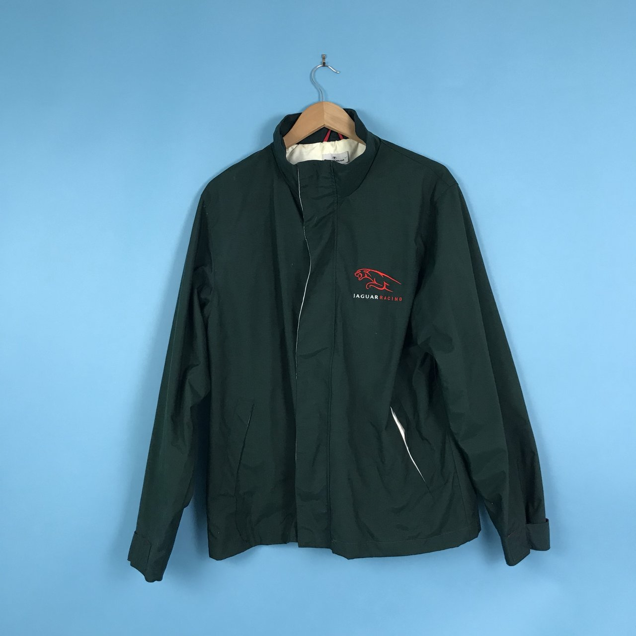 fe29aa834e44be Jaguar racing jacket. Classic jag dark green with red logo a - Depop
