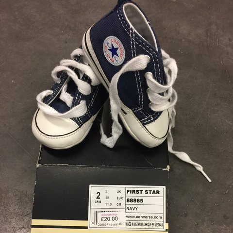 d45aac7ab Baby converse first star crib shoes in navy blue size 2. - Depop