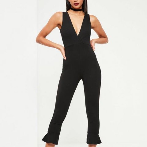 61bc2aa70143 Missguided black flare jumpsuit - lovely body con fit - size - Depop