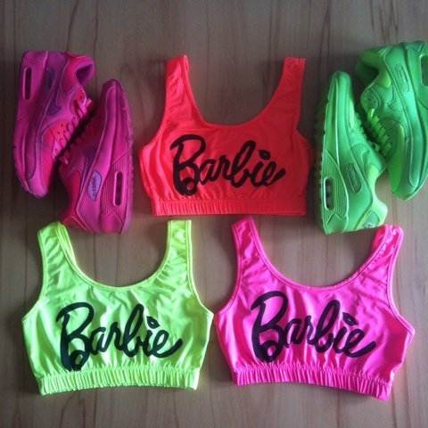 e4c5d3aa94 💗Barbie - Crop Top - Sports Bra💗 come in 3 fluorescent and - Depop
