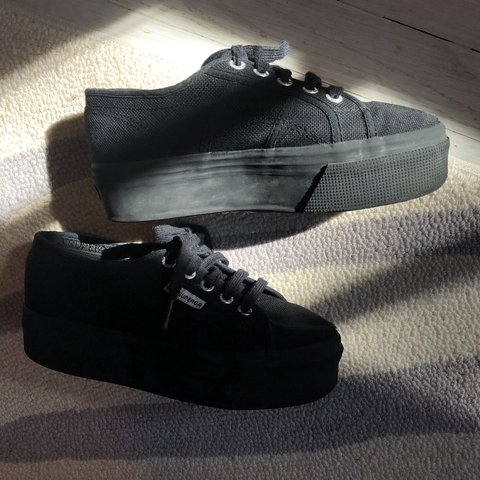 6aea9cdea167c Superga Full Black Platform shoes- 2790 ACOTW #superga - Depop