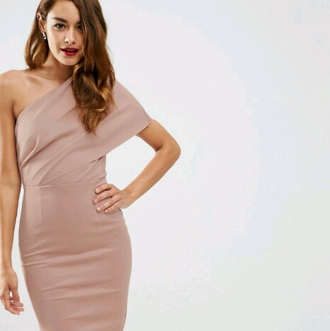 complimentary shipping utterly stylish best choice Asos one shoulder dress in a dusty rose /mink... - Depop