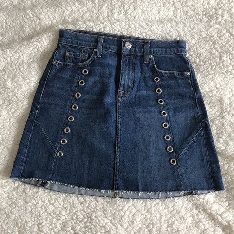 a7220fd314 NWT 7 for all man kind denim mini skirt. Features silver and - Depop