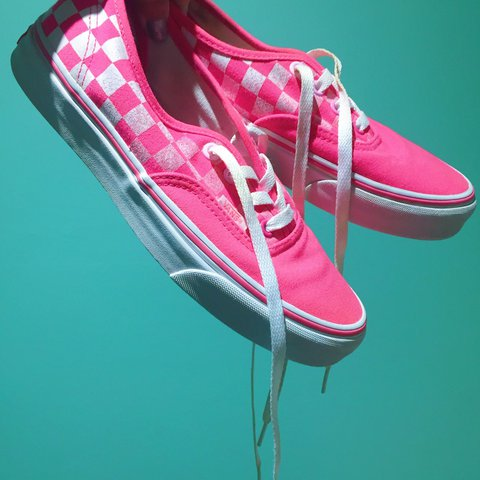 1a509c285f3c45 OBNOXIOUS HOT PINK Vans shoes. Classic checkered Vans with a - Depop