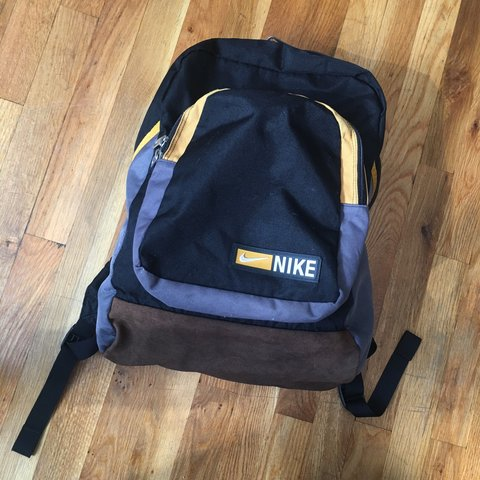 Vintage 90s Nike backpack. Black yellow with suede bottom. - Depop 2bd7e97036eb9