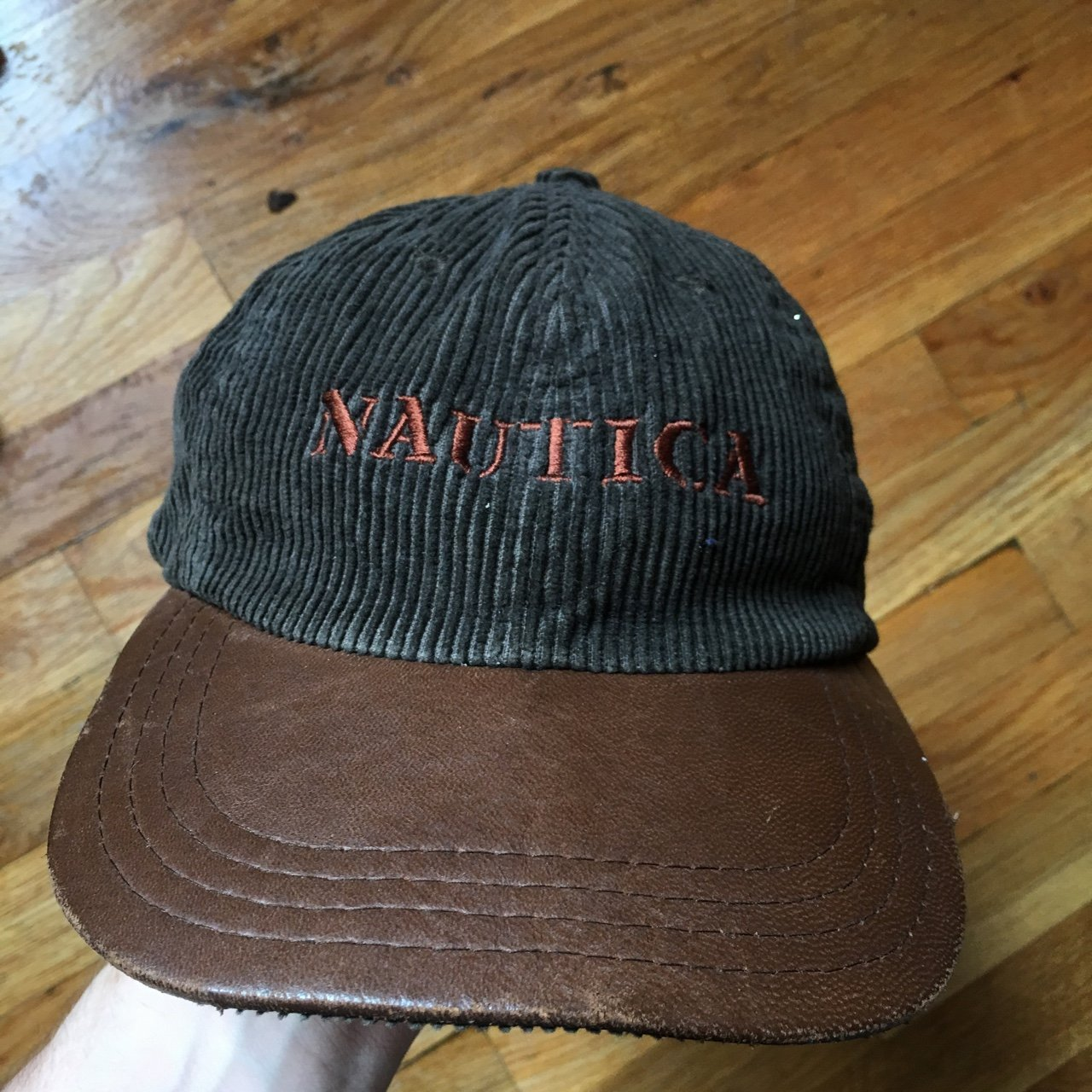 Crazy vintage Nautica corduroy cap with leather strap. have - Depop bb3f498be57