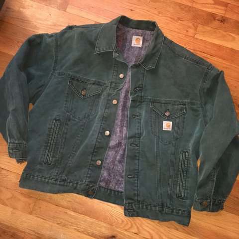 4d447a35953 Vintage Carhartt work jacket. Emerald green with Aztec Size - Depop