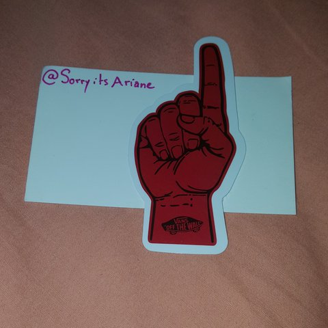 Red vans off the walls hand number 1 foam finger sticker depop