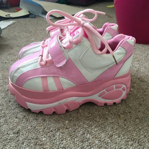 the latest fec32 05338 pink and white buffalo sneakers bought from kokopie... - Depop