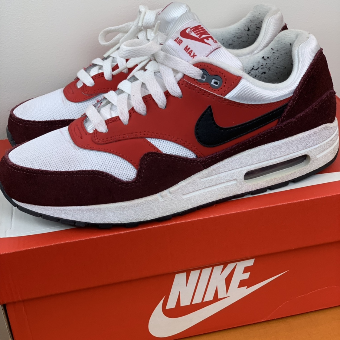 Nike air max 1 red burgundy white Black sneakers Depop