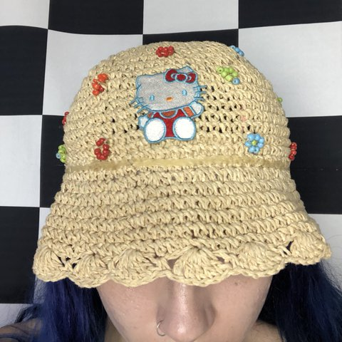 a1349a5ea63f3 Hello Kitty sun hat. With a lil HK patch right on the front - Depop