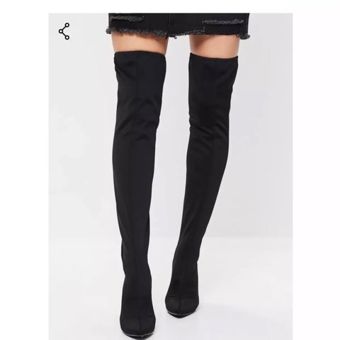 b80fb564200 black neoprene thigh high over the knee high heel boots size - Depop