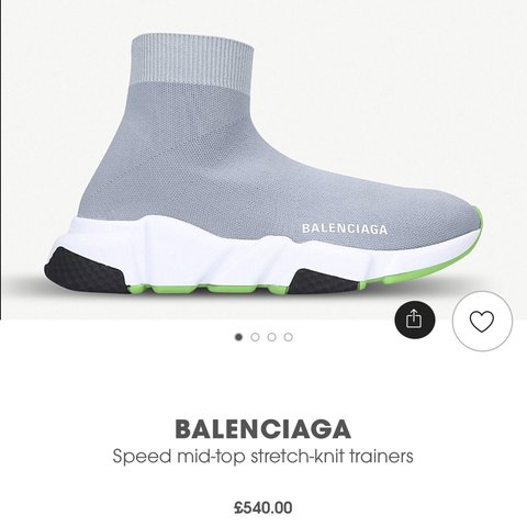 473d13120 @yasminew96. 11 days ago. London, United Kingdom. Balenciaga grey and green  Speed trainers size 35 but would fit a U.K. 36 (3) brand new ...