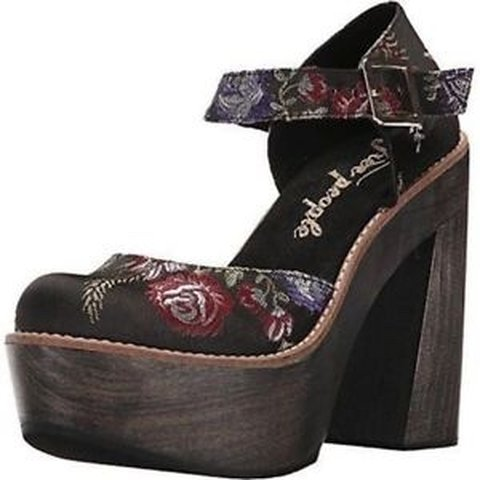 9af4707aede Free People Starlet Black Wood Platform Heel Floral Shoes. i - Depop