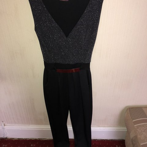 bed583d09b15 Black and silver glitter top jumpsuit. Belt is attached. - Depop