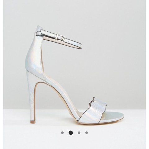 57607facddb Faith Silver Strappy Heels  leather  heels  silver  strappy - Depop