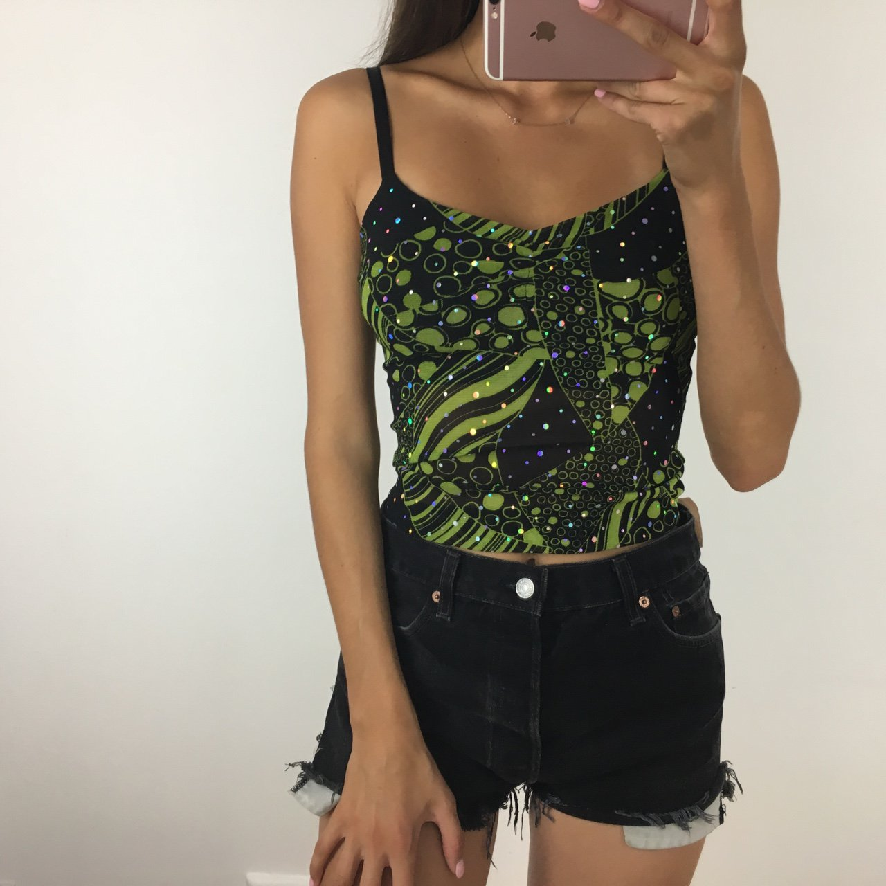 28f494d29f Vintage funky green and black mesh vest top