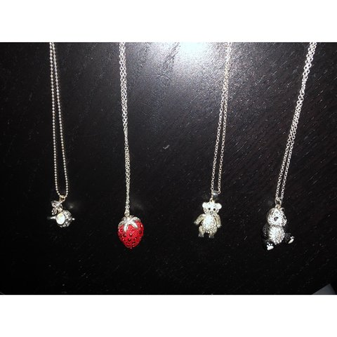 c6c282ea6 Graphic Necklaces for sale. Strawberry,bear, panda and tea a - Depop
