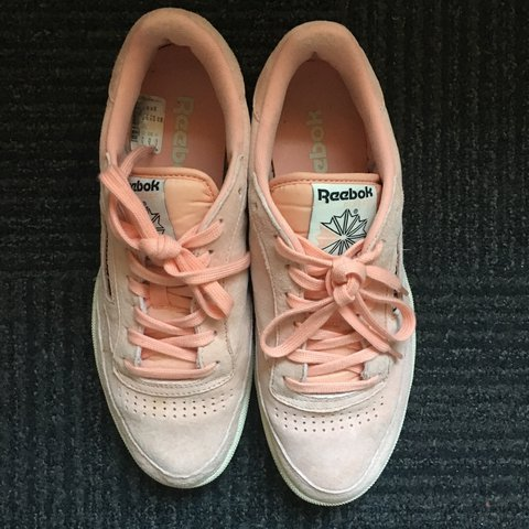 cd5f65990a66 Reebok club c85   Peach suede trainers   UK 7   RRP twice - Depop