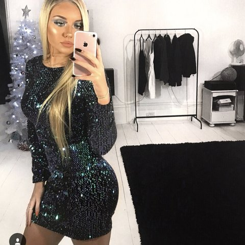 3aa14f941b Motel Deluxe Gabby Sequin Plunge Back Dress In Iridescent at - Depop