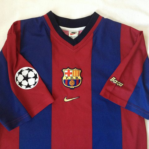 a73a3988f Vintage 1998 1999 Barcelona home shirt. Official Nike jersey - Depop