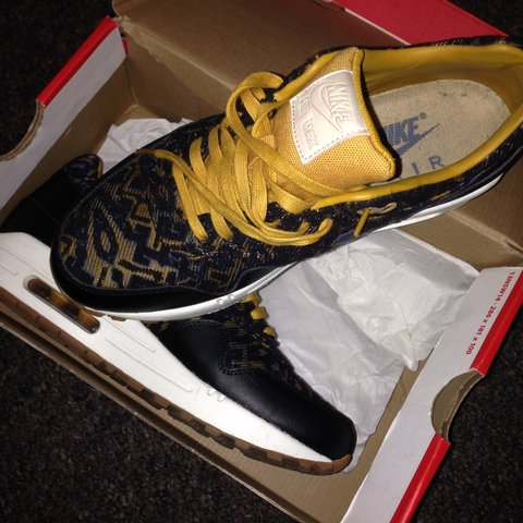 1be4a0a228 @marshagodly. 4 years ago. Edmonton Green, London N9, UK. Air Max 1 Black  and Gold Exclusive .. These were limited editions ...
