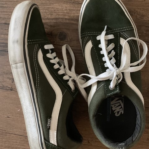 7958ac3c5ddb Men s Vans Old Skool Pro Ultracush Sneakers Forest Green US - Depop
