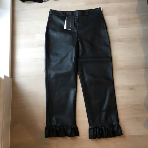 0583c51612 @alliesuss. 2 years ago. London, United Kingdom. Zara black faux leather  cropped trousers with frill hem, size S