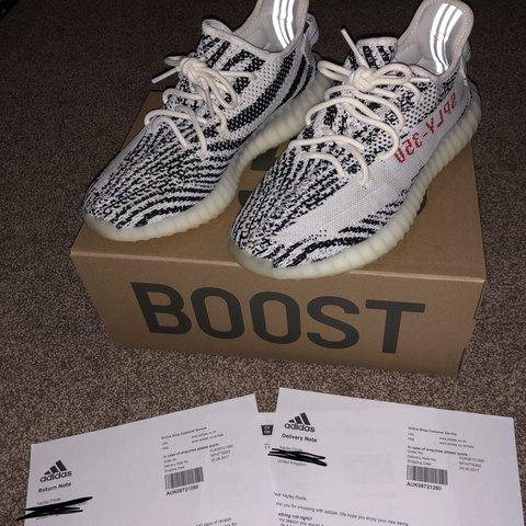 242fe8bf09408 Yeezy Boost 350 V2 Zebra - Size 8 1 2 - Have been Worn a No - Depop
