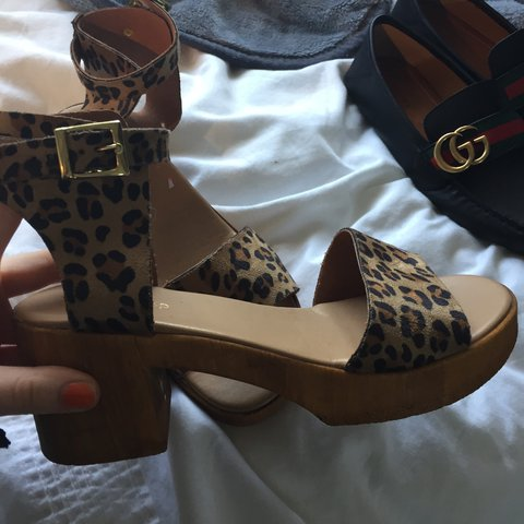 5f2b0ff22 Topshop leopard print sandals with wooden sole. Never been a - Depop