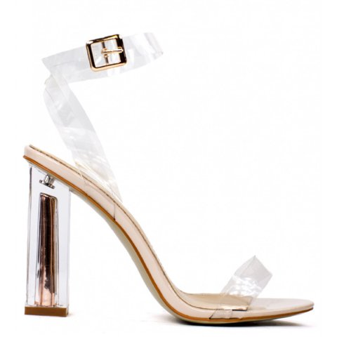 380297c36c3 Rose Gold Perspex Block Heel Strappy Shoes. Brand New