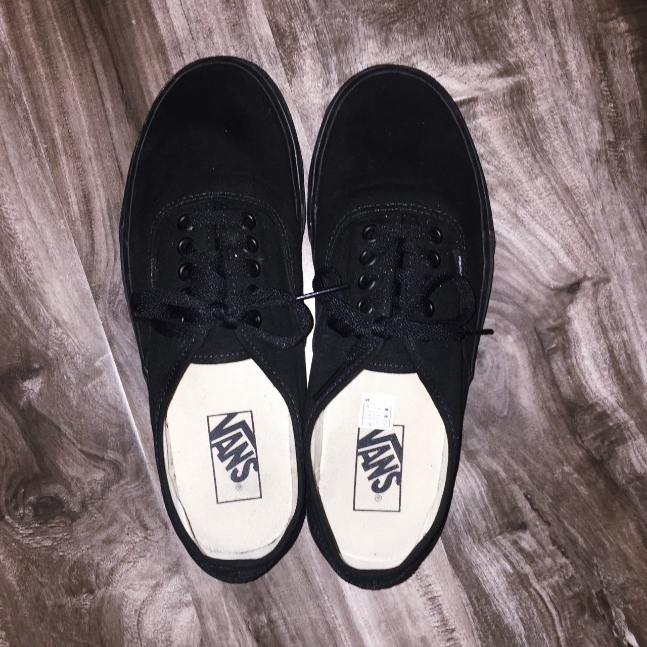 51f8fd6a8ba All black canvas Vans shoes! Worn maybe 3 times total. Size - Depop