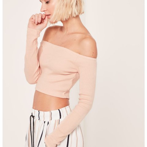 0e2c0562007 REDUCED!!! Missguided bardot off the shoulder nude ribbed 10 - Depop