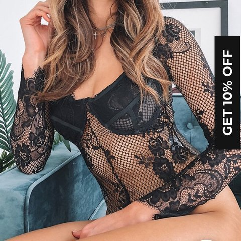 e70ab38f70 Beginning boutique black lace long sleeve sleeved body AU oh - Depop
