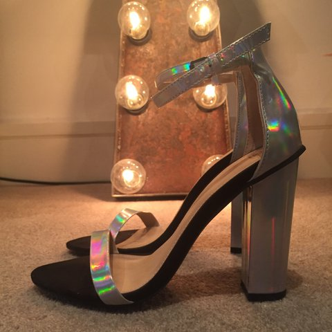 4018f7fa0b5 Zara uk 5 strapped sandal iridescent heels silver and black. - Depop