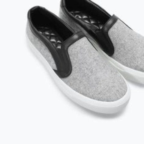 Zara gray felt wool-like slip on shoes with leather trimming - Depop 2929e031d
