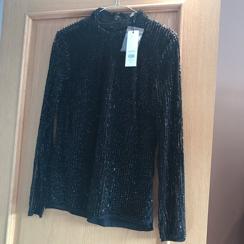 11223168e25635 Black sequin blouse - never worn!! Will look lovely with or - Depop