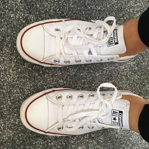 White Leather converse size 5 really good condition only a x - Depop 7c7f494d8