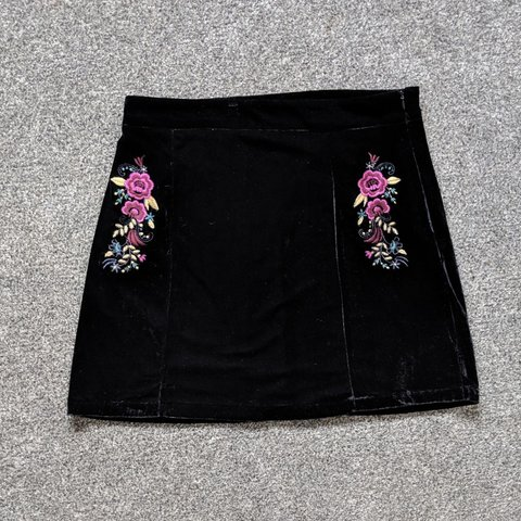 61d9973626a2a2 @helloleanne. 3 days ago. United Kingdom, GB. Black velvet skirt with  floral embroidery ...
